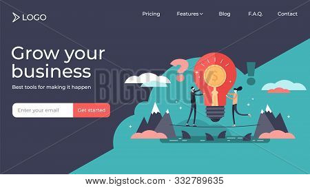 Venture Flat Tiny Persons Vector Illustration Landing Page Template Design. Risky Business With Huge