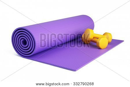 Yoga mat for fitness exercise and dumpbells isolated on white background. Fitness mat - 3d rendering. poster