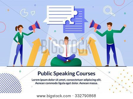 Public Speaking Courses, Business Leadership Seminar Trendy Flat Vector Advertising Banner, Promo Po