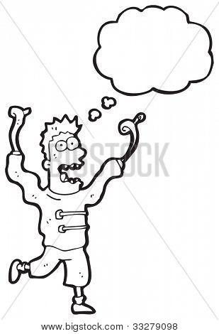 crazy escaped madman cartoon