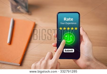 Evaluation And Rating Concept, Woman Pressing Happy Smile Face Emoticon And 5 Star Rating Or Review