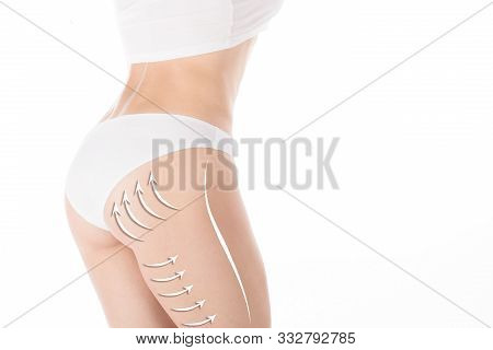 Female Lower Body And Butt In Base White Underwear, Isolated. Lifting Marking With Arrows In Womans