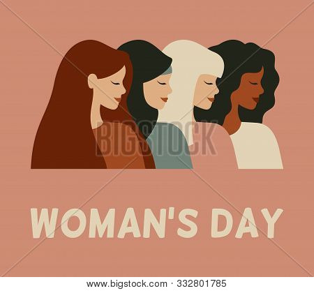 International Woman's Day Card. Diverse Female Portraits Of Different Nationalities And Cultures Iso