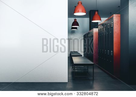 Contemporary Locker Room With Copyspace