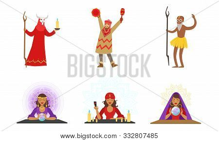 Shamans And Fortunetellers With Different Attributes. Vector Illustration.