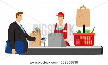 Cashier And Buyer. Flat Customer Pays With Credit Card In Store. Vector Food Basket, Cashbox, Smile