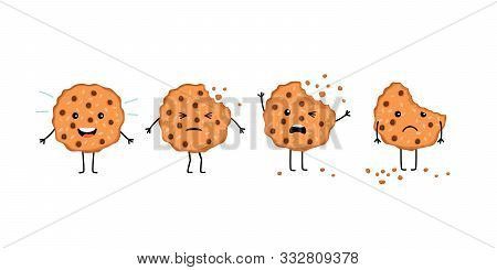 Crumble Cookie Snack. Cartoon Smile Biscuit And Chcolate Cookies Mascot With Eyes And Bite, Crunchy