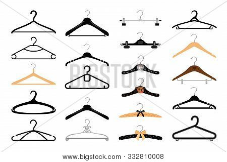 Clothes Hangers Set. Coat And Dress Colorful Hanger Set Isolated On White Background, Wood Metal And