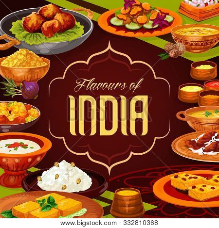 Indian Cuisine Food, Vector Design Of Rice Dishes With Vegetables, Meat And Seafood. Lentil Curry, P