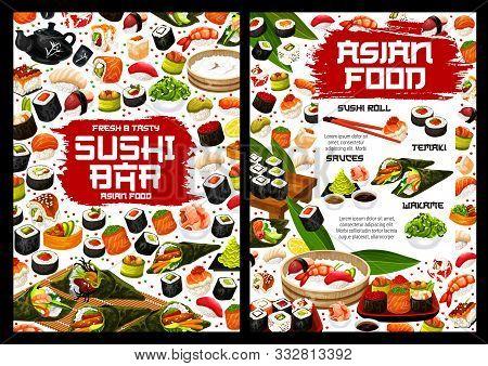 Japanese Sushi Rolls Vector Menu, Asian Food. Salmon Fish Sashimi, Rice And Seafood Maki, Tuna, Shri