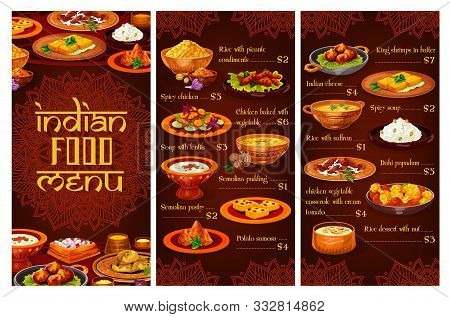 Indian Restaurant Vector Menu With Rice, Meat, Vegetable And Seafood Dishes. Spicy Chicken, Pilau An