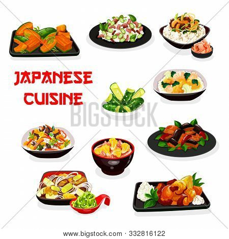 Japanese Cuisine Vector Design Of Rice And Noodle Dishes With Vegetables, Meat And Fish. Eggplant In