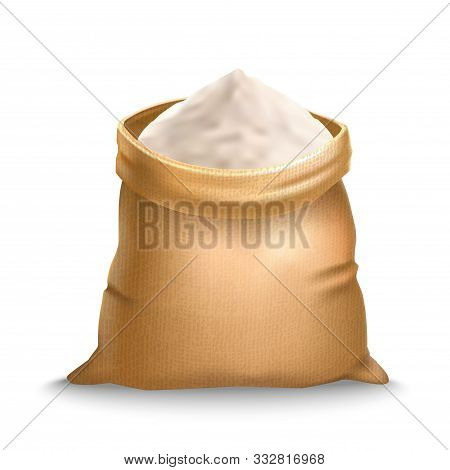 Realistic Detailed 3d Burlap Sack With Flour Symbol Of Harvest. Vector Illustration Of Brown Bag And