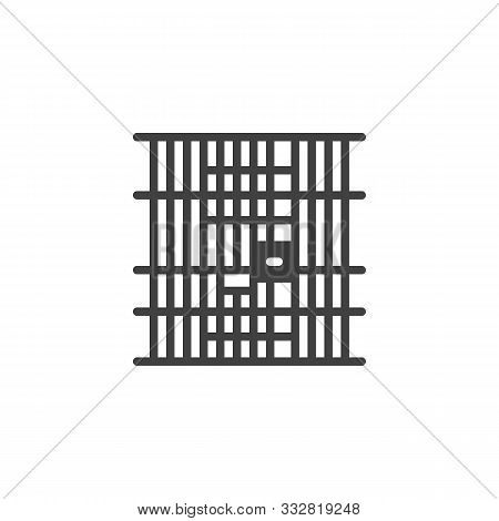 Prison Jail Vector Icon. Filled Flat Sign For Mobile Concept And Web Design. Locked Jail Door Glyph