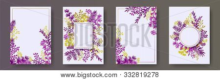 Cute Herb Twigs, Tree Branches, Leaves Floral Invitation Cards Set. Plants Borders Romantic Cards De