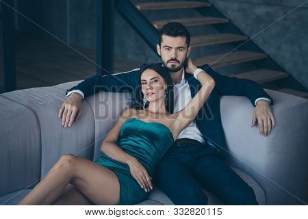 Photo Of Two Classy People Couple Wealthy Guy And Lady Lying Close On Comfy Couch Tenderness Evening