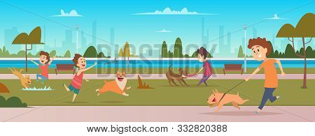Kids In Park With Dogs. Children Jogging And Playing Running With Happy Domestic Puppy Dogs Vector O