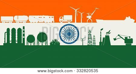 Energy And Power Icons Set On India Flag Backdrop. Header Or Footer Banner. Sustainable Energy Gener