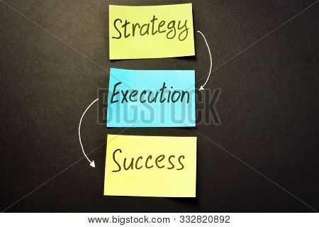 Strategy Execution Success Written On Color Memo Sticks.