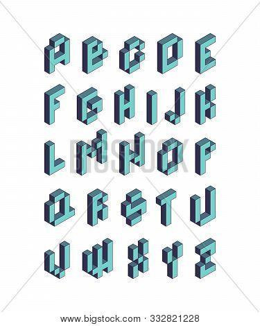 Pixel Font. Isometric Video Game Alphabet Retro Style 90s Cubic Letters Vector 3d. Pixel Game Alphab