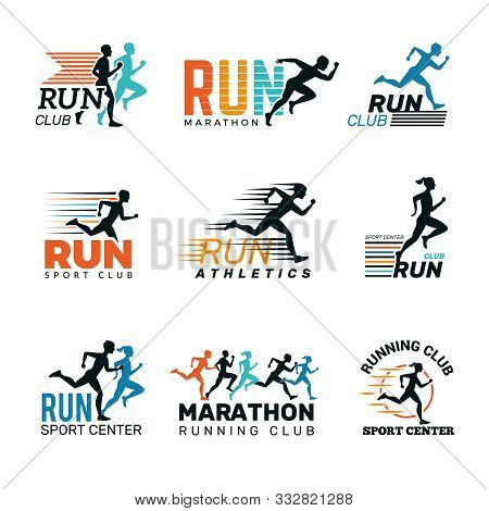 Running Logo. Marathon Club Badges Sport Symbols Shoe And Legs Jumping Running People Vector Collect