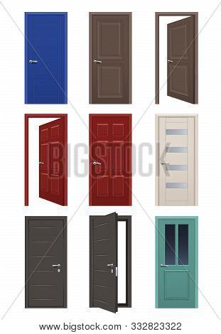 Realistic Doors. Room Entrance Open And Closed Doors Interior Home Apartment Vector Illustrations. D