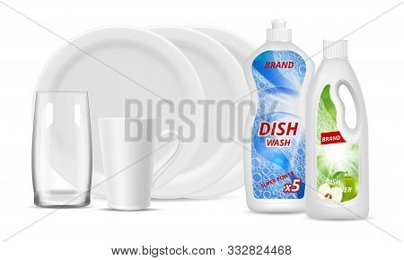 Liquid Detergent Bottles. Clean Dishes, Glass, Cup. Vector Realistic White Plates, Packaging Deterge