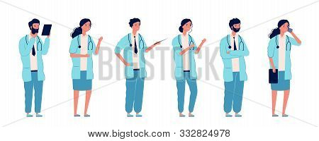 Doctors At Work. Medical Person Health Care Managers Standing Group Nurses Surgeon And Pharmacist In
