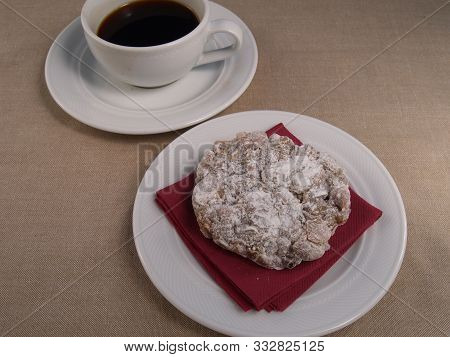 A Cup Of Coffee With Panforte. A Cup Of Coffee With A Traditional Tuscan Panforte.