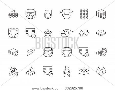 Softly Diaper. Baby Pee Absorbent Soft White Diapers Maternity Newborn Items Vector Outline Icons. D
