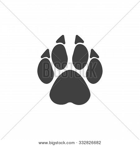 Wolf Paw Print Vector Icon. Filled Flat Sign For Mobile Concept And Web Design. Wolf Animal Footprin