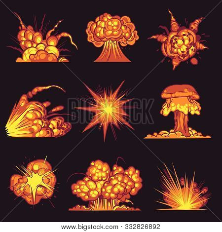 Cartoon Explosions. Fire Bang With Smoke Effect Of Explode Dynamite. Danger Explosive, Bomb Detonati