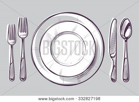 Sketch Plate Fork And Knife. Dinner Cutlery And Empty Dish On Table, Dining Silverware Top View Hand