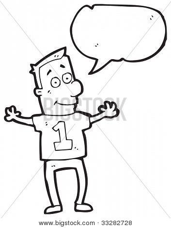 cartoon man in number 1 sports shirt