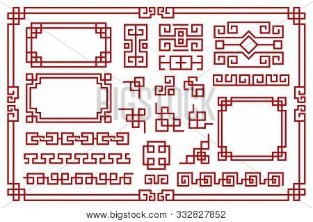 Chinese Frames. Asian New Year Decorative Square Borders, Red Traditional Oriental Graphic Patterns