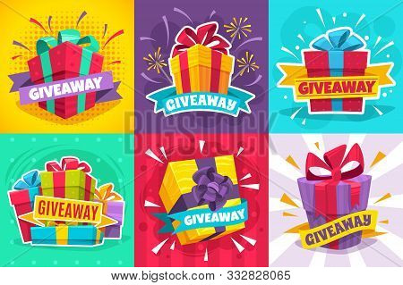Giveaway Winner Poster. Gift Offer Banner, Giveaways Post And Winner Reward In Contest, Prize In Box