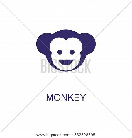 Monkey Element In Flat Simple Style On White Background. Monkey Icon, With Text Name Concept Templat
