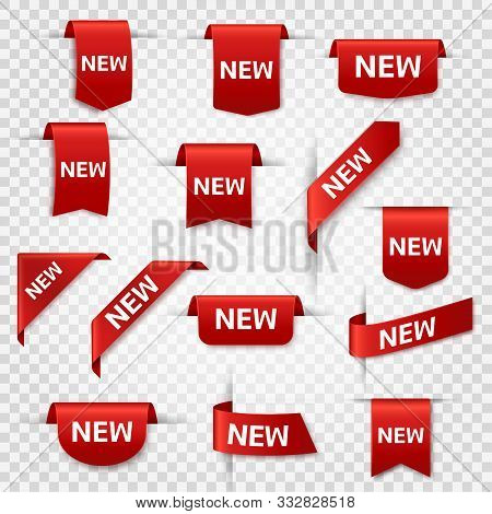 New Labels. Newest Product Red Banner Ribbons, Price Shopping Tags. Promotion Sale Badges, Special O