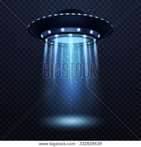 Ufo. Realistic Alien Spaceship With Blue Light Beam, Futuristic Sci Fi Unidentified Spacecraft Isola