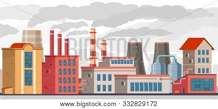 Smog Pollution. Industrial Factory With Pipes Pollutes Environment With Toxic Smoke. Smog And Chemic