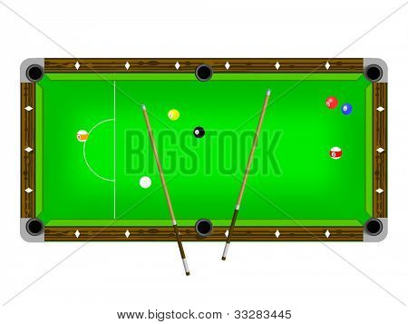 Vector Illustration of a pool table with cues and pool balls isolated on white