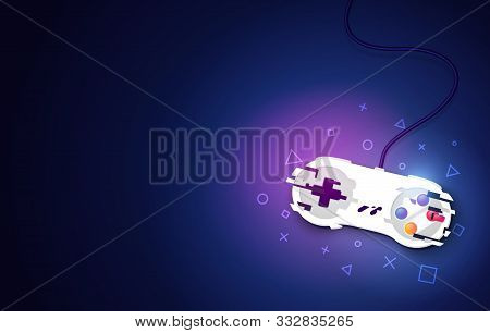 Vector Illustration Video Game Console Pad. Gaming Concept. Top View Retro Joystick On Dark Backgrou