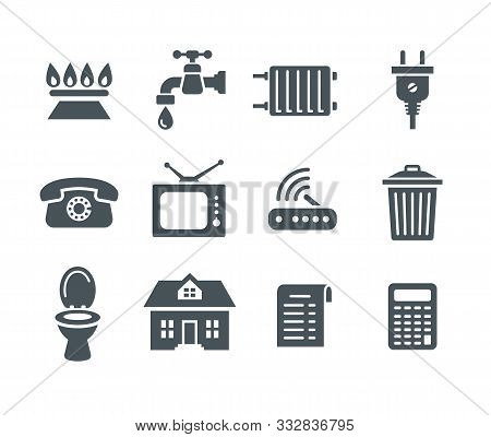 Household Services Utility Bill Icons. Vector Flat Silhouettes Regular Payment Symbols Such As Gas,