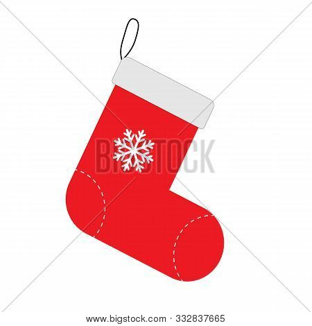 Christmas Sock Icon On White Background. Flat Style. Sock Icon For Your Web Site Design, Logo, App,
