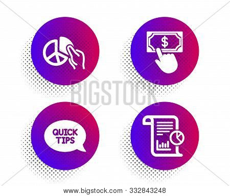 Pie Chart, Payment Click And Quickstart Guide Icons Simple Set. Halftone Dots Button. Report Sign. P