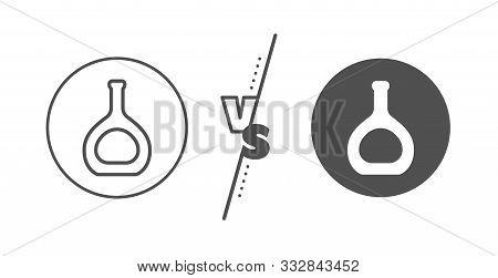 Brandy Alcohol Sign. Versus Concept. Cognac Bottle Line Icon. Line Vs Classic Cognac Bottle Icon. Ve