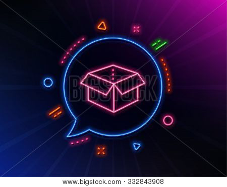 Open Box Line Icon. Neon Laser Lights. Delivery Parcel Sign. Cargo Package Symbol. Glow Laser Speech