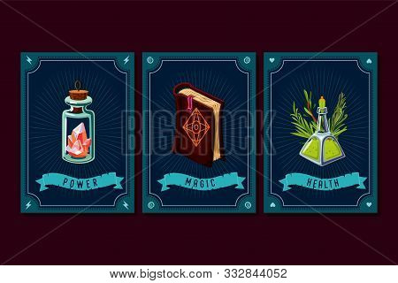 Game Asset Pack. Fantasy Card With Magic Items. User Interface Design Elements With Decorative Frame