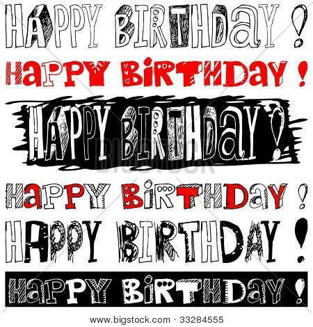 Happy Birthday doodles isolated on white background poster