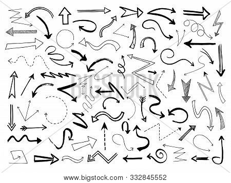 Hand Drawn Arrows. Sketch Black Arrow Direction Line Signs. Doodle Scribble Monochrome Way Pointers,